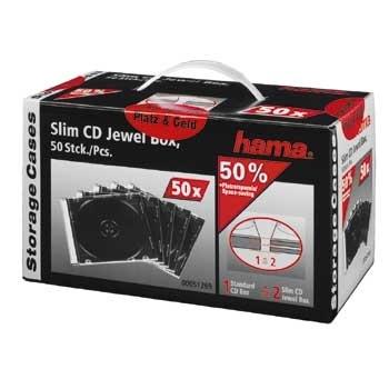 Hama CD Slim Jewel Case, pack 50 Pcs (Transparent)