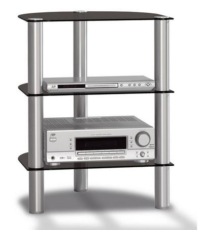 Just-Racks R590-BG Flat panel Bodenhalter (Aluminium, Schwarz)