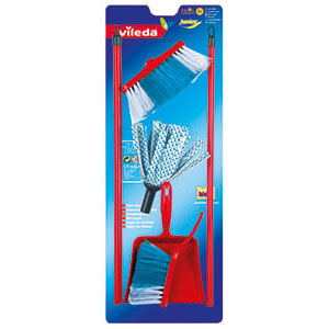 Theo Klein Vileda cloth mop with brush and pan set (Rot)