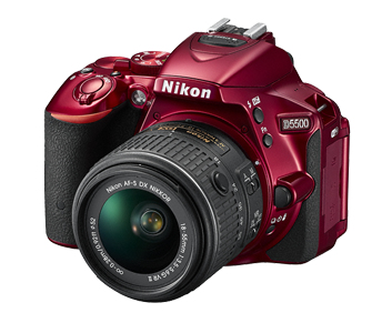 Nikon D5500 + AF-S DX NIKKOR 18-55mm 24.2MP 4/3Zoll CMOS 6000 x 4000Pixel Schwarz, Rot (Schwarz, Rot)