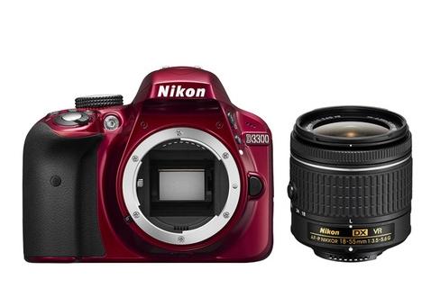 Nikon D3300 + AF-P 18-55mm VR (Schwarz, Rot)