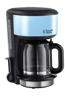 Russell Hobbs Colours Plus+ Freistehend Vollautomatisch Filterkaffeemaschine 1.25l 10Tassen Schwarz, Blau (Schwarz, Blau)