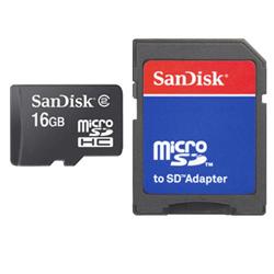 Sandisk microSD Card 16GB + Adapter (Schwarz)