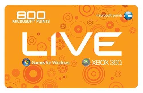 Microsoft Xbox360 Live 800 Points, GR