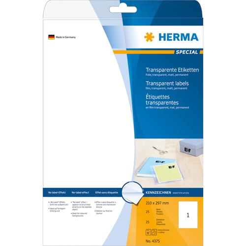 Herma Etiketten Transparent Matt A4 210x297 Mm Folie 25 St