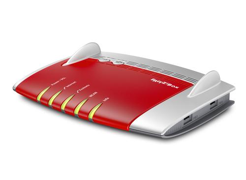 AVM FRITZ!Box 7490, DE ADSL WLAN Eingebauter Ethernet-Anschluss Dual-Band Rot, Silber (Rot, Silber)