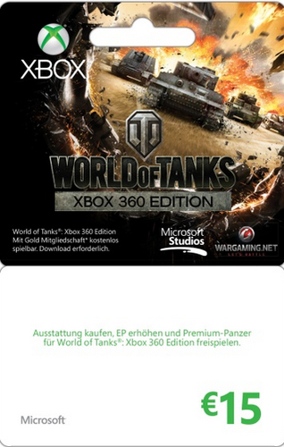Microsoft Xbox Live Branded 15 EURO World of Tanks