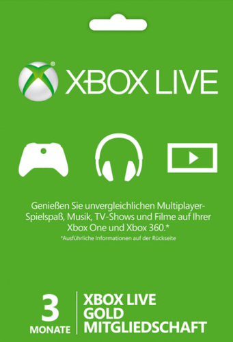 Microsoft Xbox Live 3 Monate Gold