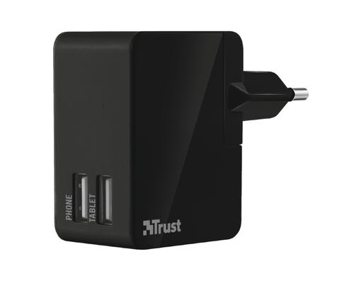 Trust International Travel Charger w/ 2 USB ports (Schwarz)