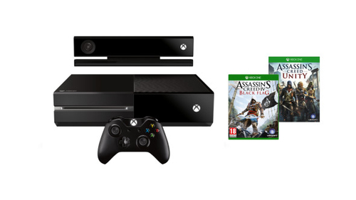 Microsoft Xbox One Konsole + Kinect inkl. Assassin's Creed Unity und Black Flag (DLC) (Schwarz)