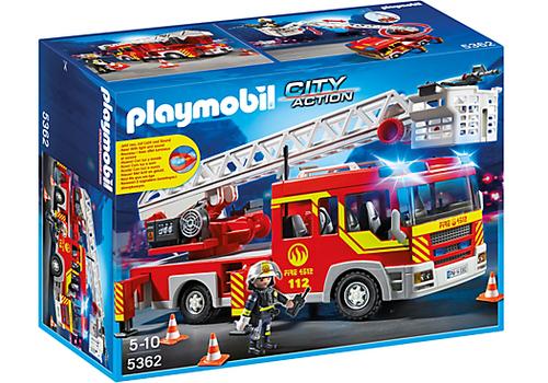 Playmobil 5362 - Feuerwehr-Leiterfahrzeug mit Licht und Sound (Mehrfarbig)