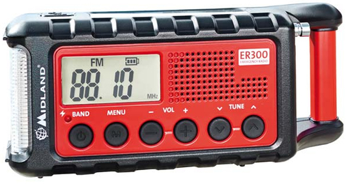 Midland ER300 Tragbar Analog Schwarz, Rot Radio (Schwarz, Rot)