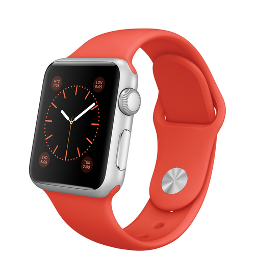 Apple Watch Sport (Orange, Silber)