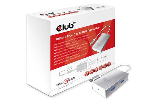 CLUB3D SenseVision USB 3.0 Type-C HUB to 4x USB3.0 (Aluminium, Silber, Weiß)