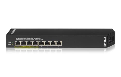 Netgear GSS108EPP gemanaged L2 Gigabit Ethernet (10/100/1000) Energie Über Ethernet (PoE) Unterstützung Schwarz (Schwarz)