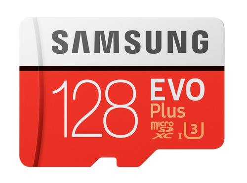 Samsung EVO Plus MB-MC128G 128GB MicroSDXC UHS-I Klasse 10 Speicherkarte (Rot, Weiß)