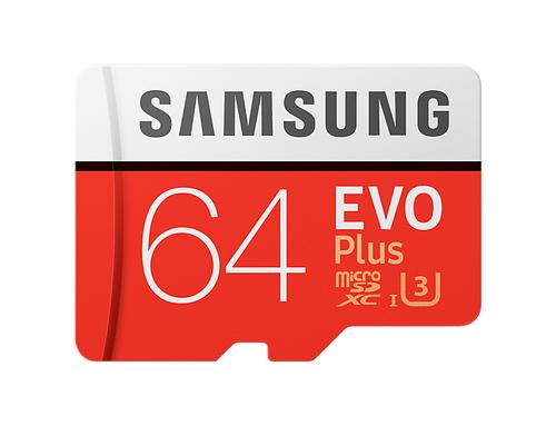 Samsung EVO Plus MB-MC64G 64GB MicroSDXC UHS-I Klasse 10 Speicherkarte (Rot, Weiß)