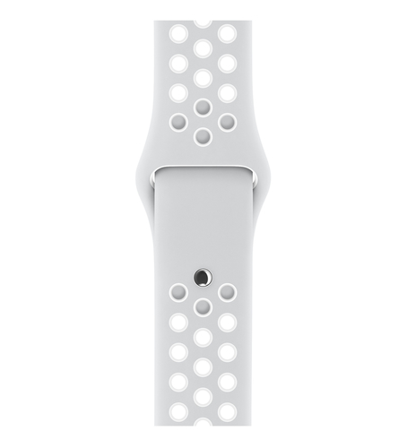 Apple 38 mm Nike Sportarmband, Pure Platinum/Weiß (Platin, Weiß)