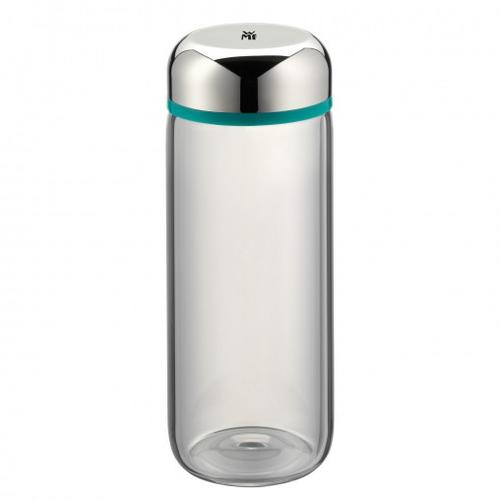 WMF Basic 500ml Glas, Kunststoff, Silikon Edelstahl, Türkis Trinkflasche (Edelstahl, Transparent, Türkis)