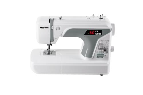 MEDION Dig. Nähmaschine MD 16661, Knopflochautomatik, 50 versch. Stichmuster, LED-Nählicht, umfangreiches Zubehör, grau-weiß (Grau, Weiß)