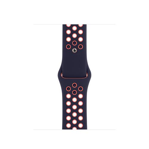 Apple 40mm Blue Black/Bright Mango Nike Sport Band – Regular Schwarz, Blau, Rose Fluor-Elastomer (Schwarz, Blau, Rose)