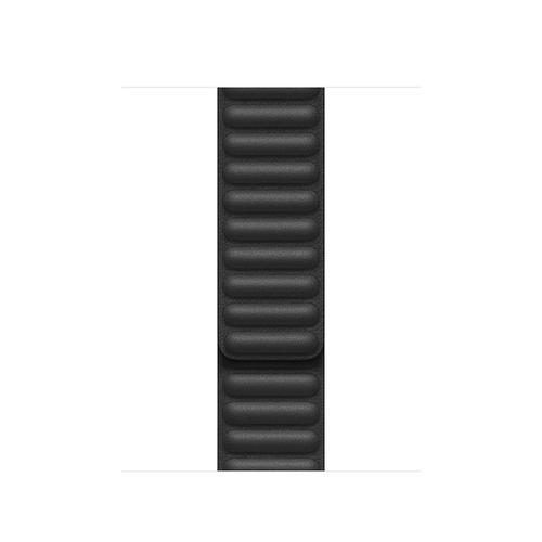 Apple 40mm Black Leather Link - M/L Band Schwarz Leder (Schwarz)