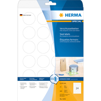 HERMA Verschlussetiketten A4 transparent Ø 40 mm rund extrem stark haftend Folie matt 600 St. (Transparent)