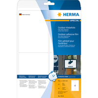 HERMA Etiketten A4 Outdoor Klebefolie 99,1x139 mm weiß extrem stark haftend Folie matt wetterfest 40 St. (Weiß)