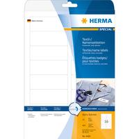 HERMA Namens-/Textiletiketten A4 88.9x33.8 mm weiß ablösbar Acetatseide 400 St. (Weiß)