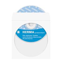 HERMA CD/DVD-Papierhüllen weiß mit Klebefläche 100 St