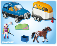 Playmobil 5223 - PKW mit Perdeanhänger (Mehrfarbig)