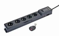 Gembird EG-SP5-TNCU6B-RM Überspannungsschutz (Schwarz)