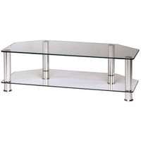 Hama LCD/Plasma TV Rack, 1000 mm, two shelves, aluminium/clear glass