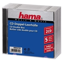 Hama CD Double Jewel Case Standard, Pack 5 (Transparent)