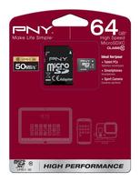 PNY 64GB MicroSDHC+SD adapter (Schwarz)