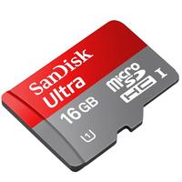 Sandisk 16GB Ultra microSDHC UHS-I 16GB MicroSDHC Class 10 Speicherkarte (Grau, Rot)