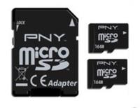 PNY 2x 16GB MicroSD+SD Adapter (Schwarz)