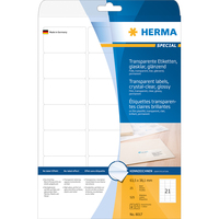 HERMA Etiketten transparent glasklar A4 63.5x38.1 mm transparent klar Folie glänzend 525 St. (Transparent)