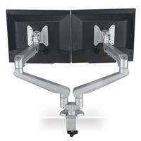 ROLINE Dual LCD-Arm Pneumatic, Tischmontage, 2 Gelenke, Pivot (Grau)