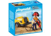 Playmobil 5472 - Bauarbeiter mit Presslufthammer (Schwarz, Orange, Rot, Gelb)