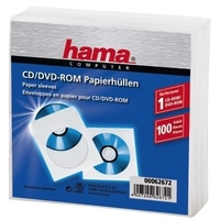 Hama CD-ROM Paper Sleeves 100, White (Weiß)