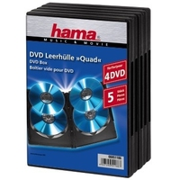 Hama DVD Quad Box, Black, Package of 5 pieces (Schwarz)