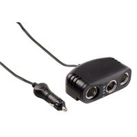 Hama 3-way Distributor for Cigarette Lighter Socket, 12V, 8A, LED (Schwarz)