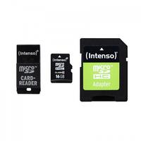 Intenso 16GB MicroSD, SD + USB Adapter (Schwarz)