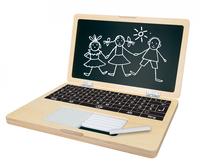 Eichhorn Laptop mit Puzzle (Schwarz, Weiß, Holz)