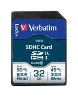 Verbatim Pro 32GB SDHC UHS Klasse 10 Speicherkarte (Schwarz)