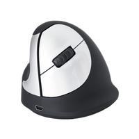 R-Go Tools HE Mouse, Ergonomische Maus, Mittel (165-195mm), linkshändig, drahtlose (Schwarz, Silber)