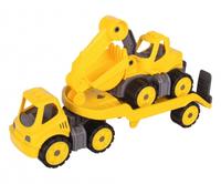 BIG Power-Worker Mini Transporter + Digger (Schwarz, Gelb)