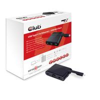 CLUB3D Mini Dock USB Type-C to Ethernet + USB3.0 + USB Type C Charging (Schwarz)