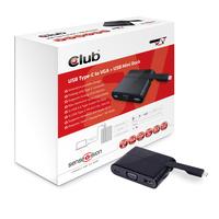 CLUB3D Mini Dock USB Type-C to VGA + USB3.0 + USB Type C Charging (Schwarz)